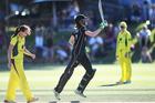 Amy Satterthwaite celebrates hitting the winning runs for New Zealand. Photo / Photosport