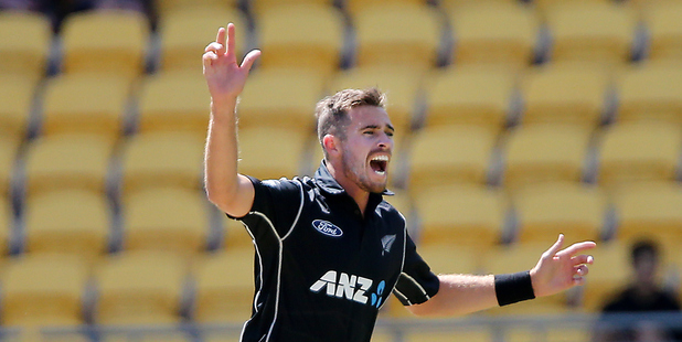 Black Caps Tim Southee in action against South Africa at Westpac Stadium in Wellington. Photo / Photosport.