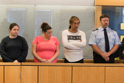 The accused (from left): Michelle Blom, Nicola Jones, Julie-Ann Torrance, Cameron Hakeke, (court security) and Wayne Blackett in the High Court at Auckland. Picture/Brett Phibbs
