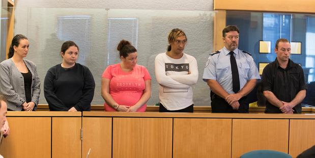 Michelle Blom, Nicola Jones, Julie-Ann Torrance, Cameron Hakeke, (unnamed court security guard), and Wayne Blackett appearing in the Auckland High Court. Photo / Brett Phibbs