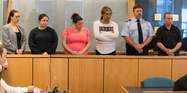 Michelle Blom, Nicola Jones, Julie-Ann Torrance, Cameron Hakeke, (COURT SECURITY), Wayne Blackett. Appearing in the Auckland High Court on charges relating to an alleged attack of a teenager who was l