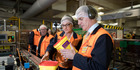 Nestle foods factory manager Sharon Meaker gives Prime Minister Bill English a tour of the new Cambria Park Factory. Photo/ Dean Purcell