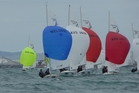 SAY WHAT: Hayden Percy and Scott Pedersen (blue sail) show the Aussies and Brits the way in race one. PHOTO/SUPPLIED