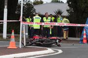 The crash scene in Glenfield. Photo / Brett Phibbs
