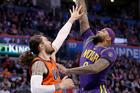 Oklahoma City Thunder centre Steven Adams attempts to defend New Orleans Pelicans forward DeMarcus Cousins. Photo / AP