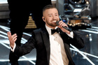 Justin Timberlake performs Can't Stop the Feeling at today's Oscars ceremony in Los Angeles. Photo/AP