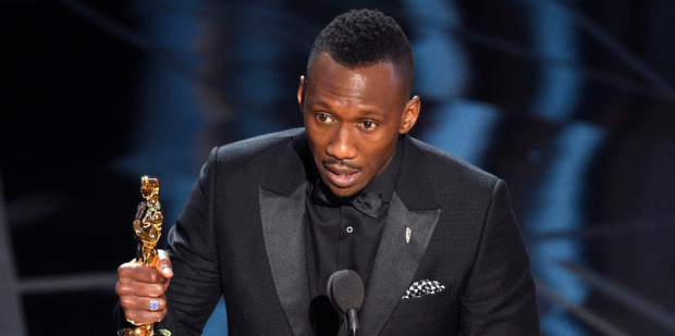 Mahershala Ali accepts the award for best actor in a supporting role for Moonlight at the Oscars. Photo/AP