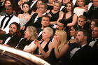 The star-studded audience at the Dolby Theatre in Los Angeles reacts after Moonlight is given the Academy Award for best picture over La La Land. Photo/AP