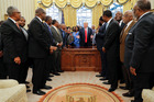 US President Donald Trump meets leaders of Historically Black Colleges and Universities (HBCU) in the Oval Office of the White House. Photo / AP