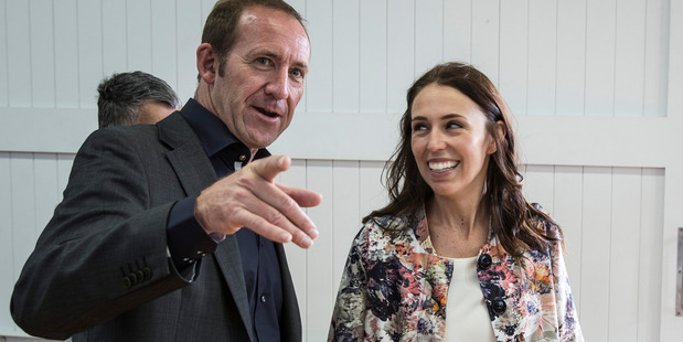 Labour Party leader Andrew Little (left) with Jacinda Ardern. Photo / Michael Craig