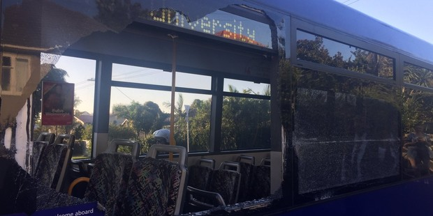 The city-bound bus crashed on Sandringham Rd this morning. Photo/Twitter