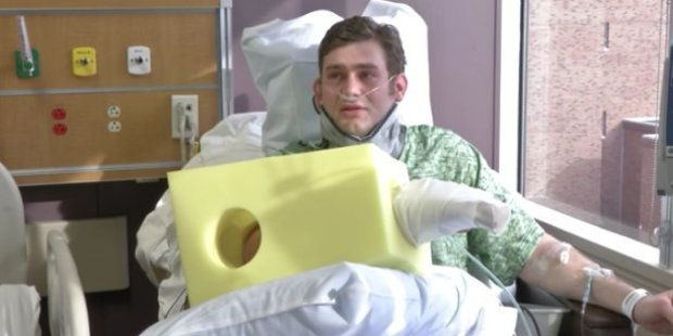 Ian Grillot in a still from the hospital video. Photo / YouTube