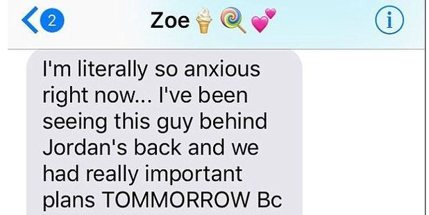 A woman named Zoe, from Baltimore,  accidentally sent her boyfriend a text meant for her friend. Photo / Twitter