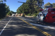 Emergency services at the scene of a serious crash on Coastal Highway, near Nelson. Photo / Marlborough Nelson Rescue Helicopter