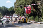 The Nelson Marlborough Rescue Helicopter at the scene of the crash.  Photo / Jessie Johnston, Nelson Weekly