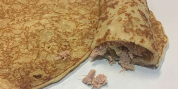 Would you eat tuna in a pancake for breakfast? Photo / Twitter