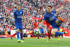 Leicester City's Shinji Okazaki has a shot at goal during the Premier League match between Liverpool and Leicester City. Photo/Getty Images