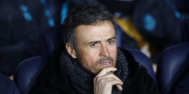 Departing Barcelona manager Luis Enrique looks on during his side's clash against PSG in their Champions League Round of 16 match in Paris last month. Photo / Getty Images.