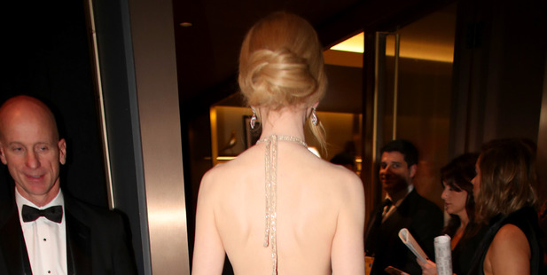 Photos of Nicole Kidman backstage reveal a change was made to her dress. Photo / Getty