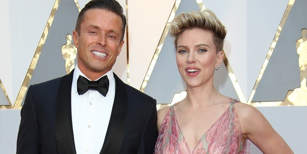 Joe Machota (L) and actress Scarlett Johansson arrive at the 89th Annual Academy Awards. Photo / Getty