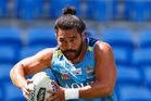 Gold Coast Titans star Konrad Hurrell in action during a training session at CBus Super Stadium yesterday. Photo / Getty Images.
