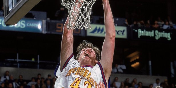 Neil Fingleton #42 of Team East makes a slam dunk during a game in Boston, Massachusetts. Photo / Getty