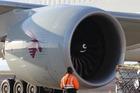 The GE90 engines on a Qatar Airways Boeing 777-200LR. Photo / Grant Bradley.