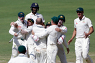 Australia's celebrate after defeating India in the first test match in Pune. Photo / AP.