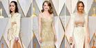 Dakota Johnson, Emma Stone and Chrissy Teigen all chose to wear varying shades of champagne. Photos / Getty