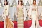 Dakota Johnson, Emma Stone and Chrissy Teigen all chose to wear varying shades of champagne. Photos / Getty