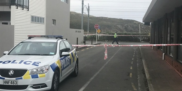 The scene near Mana Esplanade in Porirua where a man was fatallly shot  by police on Sunday morning. He has now been named as 44-year-old Christopher Wayne Brown. Photo / Ben Nichols