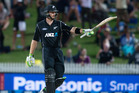 Black Caps batsmen Martin Guptill acknowledges the crowd after reaching 150 against South Africa at Hamilton. Photo/Alan Gibson