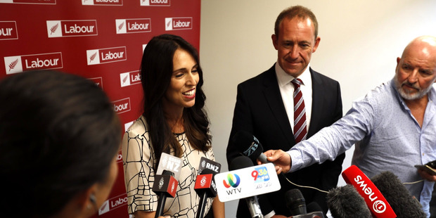 Labour Leader Andrew Little and Jacinda Ardern talk to the media in relation to deputy leader Annette King stepping down. Photo / Dean Purcell