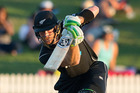 Black Caps batsmen Martin Guptill in action during the 4th ODI cricket match. Photo / Alan Gibson