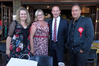 Labour Leader Andrew Little at the Cornerstone Pub with Jan Tinetti (left), Angela Warren-Clark and Tamati Coffey. Photo/George Novak