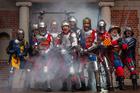 Cast of the Pop-up Globe's Henry 5 production in full battle dress. Photo / Peter Meecham