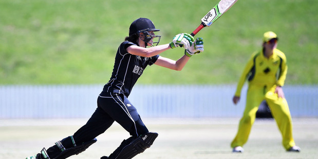 WORLD CLASS: Amy Sattherwaite made 85 in the White Ferns total of 250-8 against Australia at Bay Oval. PHOTO: photosport