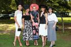 Vodafone Derby Day fashion at Ellerslie. Winner and Judges. L-R Georgia Connolly, Tracey Dalton, Hannah Carson, Amber Peebles, Janetta Mackay. Photo / Supplied