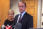 Labour Party leader Andrew Little with Annette King. Photo / Isaac Davison