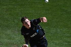 Mitchell Santner keeps an end tight and his fielding adds value. Photo / Andrew Cornaga