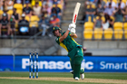 South African captain AB de Villiers in action during the third match of the one-day series against New Zealand in Wellington. Photo/Photosport