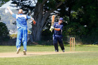 Tech bowler Ross Kinnerley nearly grasps United batsman Gerard Hobbs' straight hit at Victoria Park on Saturday.