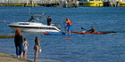 Paddleboarder Brent Bourgeois and kayaker Nathan Pettigrew arrive in Tauranga after an epic paddle. Photo / George Novak