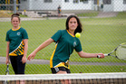 DOUBLE UP: Whanganui High School students India-Rose Wallace (left) and Holly-Rae Mete team up in the newly-launched Monday evening secondary novice doubles league on home court.