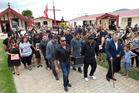 Mourners farewell Diego Hulton at his funeral at Tunohopu Marae. PHOTO/STEPHEN PARKER