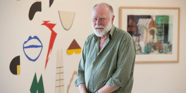 Renowned art collector Warwick Brown stands in North Art Gallery in Northcote, Auckland, among a small portion of his art collection. Photo / Nick Reed