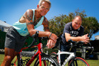 CHALK 'N' CHEESE: Whanganui NZ Ironman contenders Brian Scott (left) and Mike Hos head into Saturday's gruelling event on the back of vastly different training regimes. PHOTO/Bevan Conley