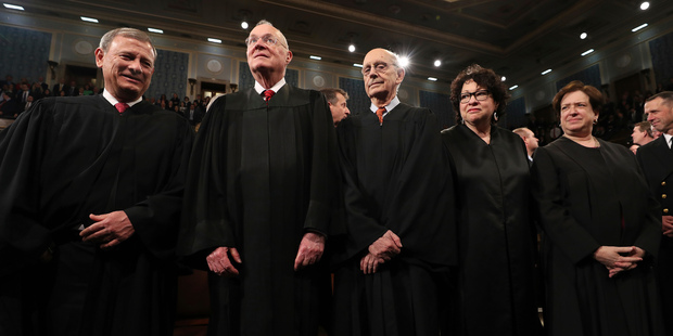 Chief Justice John Roberts, from left, (L) and Supreme Court Justices Anthony Kennedy, Stephen Breyer, Sonia Sotomayor and Elena Kagan. Photo / AP