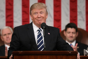 President Donald Trump addresses a joint session of Congress on Capitol Hill. Photo / AP