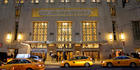 Taxis pull up in front of the renowned Waldorf Astoria hotel in New York. Photo / AP